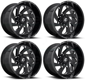 22x12 Black Milled Wheels Fuel Vortex D637 8x6 5 8x165 1 44 Set Of 4