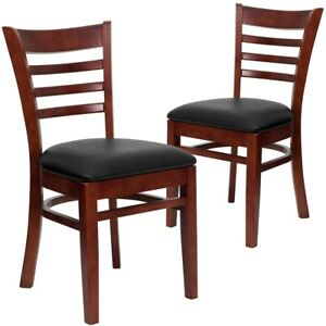 2 Pk Hercules Series Mahogany Finished Ladder Back Wooden Restaurant Chair