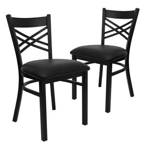 2 Pk Hercules Series Black x Back Metal Restaurant Chair Black Vinyl
