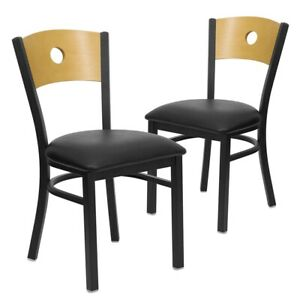 2 Pk Hercules Series Black Circle Back Metal Restaurant Chair Natural