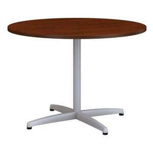 42w Round Conference Table With Metal X Base