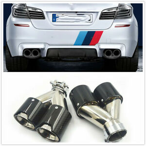 Dual Pipe Tail Tip Exhaust For Bmw M Performance Sport Power Carbon Fiber
