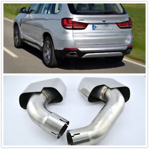 Steel Rear Bumper Exhaust Tip Muffler Pipes For Bmw F15 X5 E70 2014 2015 2x
