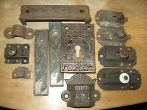 Antique Lot Cast Iron Ornate Door Locks Closures Plates Hardware Victorian