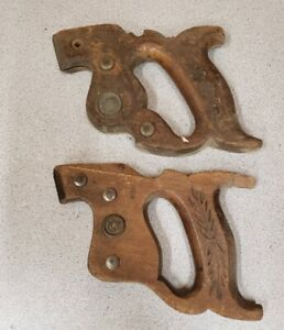 Vintage Lot Of 2 Carpenter Hand Saw Wood Handle Upcycle Decor