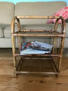 Vintage Bamboo Rattan Side Table Stand 3 Shelf Woven Wicker Book Plant