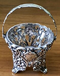 Antique Dominick Haff Ornate Rococo Sterling Silver Handle Basket Glass Liner