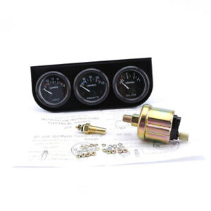 2 52mm 3in1 Triple Gauge Set Volt Meter Water Temperature Oil Pressure Gauge