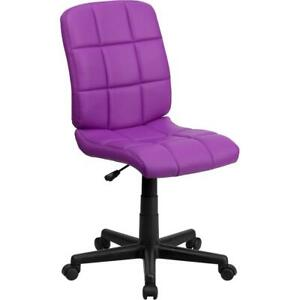 Mid back Purple Quilted Vinyl Swivel Task Office Chair