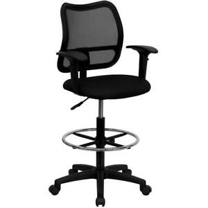 Mid back Black Mesh Drafting Chair With Adjustable Arms