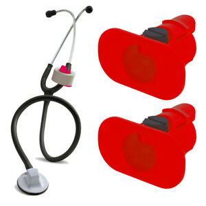 2 Pack Of Red S3 Stethoscope Tape Holders Littman Nursing Scrubs Ems Emt