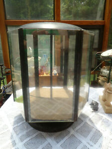 Antique Rotating Hexagon Dome Metal And Glass 15 H Store Counter Display Case