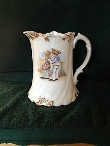 Beautiful Antique Porcelain Pitcher E E P Co Picture Of Young Couple On Side