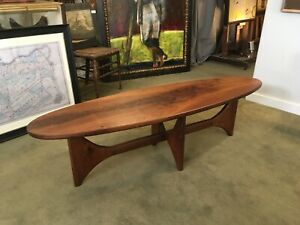 Surfboard Mid Century Modern Walnut Coffee Table Nakashima Kagan Powell Pearsall