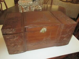 Antique Beautiful Hand Carved 9 Compartment Music Box Chest Jewelry Box Art Nice