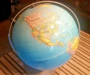 Vintage Nystrom Readiness Globe 16 Inch 33 47 Raised Relief Terrain Dual Axis