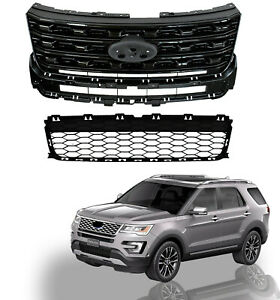For 2016 2017 Ford Explorer Upper Lower Bumper Grill Grilles 2pcs Glossy Black