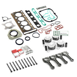 Engine Rebuild Overhaul 23mm Pistons Con Rods Gaskets For Vw Audi A3 A4 2 0tfsi