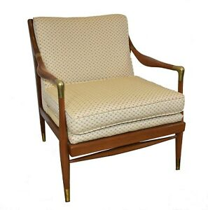 Sculpted Danish Brass Accented Lounge Chair Attributed To Ib Kofod Larsen 60 S