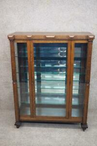 By Totten Mission Tiger Oak China Display Cabinet Early 1900 S Stickley Style