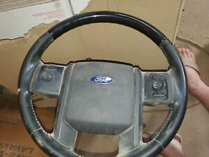 2007 2014 Ford Expedition Black Wood Steering Wheel W Audio Cruise Control Oem