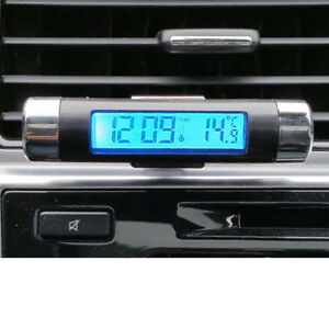 Hot Lcd Clip On Blue Backlight Digital Automotive Thermometer Car Clock Vehicle