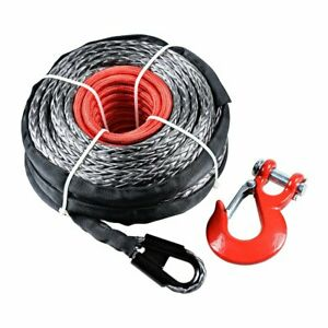 95 X 3 8 Synthetic Winch Rope Recovery 20500lb Heavy Duty Safety Clevis Hook