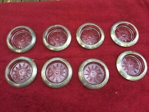 Lot Of 8 Vintage Frank M Whiting Sterling Silver Glass Wine Bottle Coaster
