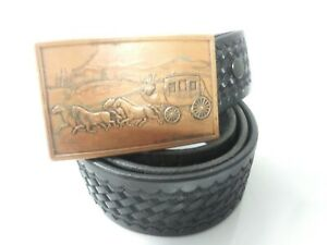 Tex Shoemaker Belt Buckle Black Basketweave Leather Police Duty Belt Size 42 4a