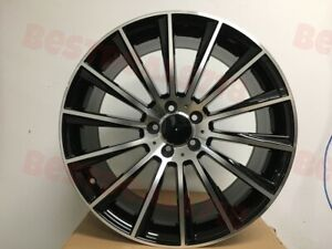 18 Staggered Black Turbine Amg Style Rims Wheels Fits Mercedes Benz 5x112 New