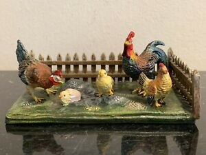 Antique Austria Cold Painted Bronze Barn Sculpture Rooster Hens And Chickens