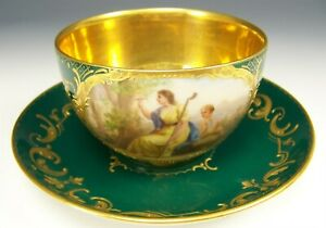 Royal Vienna Hand Painted Cupid Maiden Erinnerung Green Raised Gold Cup Saucer