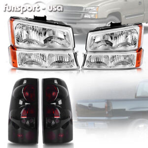 For 2003 2004 2005 2006 Chevy Silverado Headlights Bumper Lamps Tail Lights Set