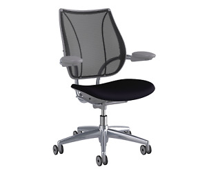 Open Box Humanscale Liberty Office Desk Chair Aluminum Frame Black Fabric Seat