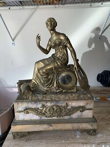 Original French Marble And Gilded Bronze Figural Mantel Clock Circa 1880
