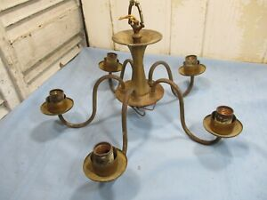 Vintage 5 Arm Brass Chandelier Parts Light Restore She Shed Lighting Fixture