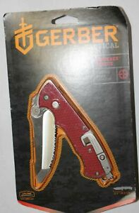 Gerber Hinderer Firefighter Rescue Edged Tool Serrated Blade Red Handle