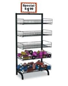 Adjustable Folding 5 tier Shelves Wire Bakery Bread Rack Floor Display Black New