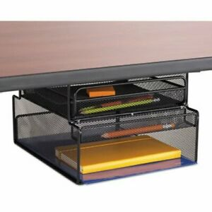 Onyx Hanging Organizer W drawer Under Desk Mount Black saf3244bl