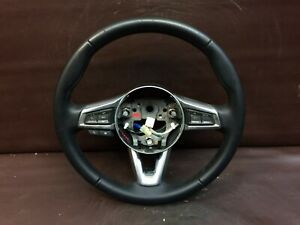 17 18 Fiat 124 Steering Wheel Black Leather Silver Trim Audio Controls Oem