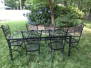 Vintage Russell Woodard Black Ornate Iron Patio Andalusian Table Chair Will Ship