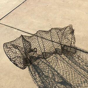 33316 Vintage River Hoop Fishing Net Trap Lake Cabin Decor 4 Hoop Net