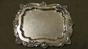 Antique Silver Plate 15 Chased Serving Tray With Claw Feet Hallmarks M C