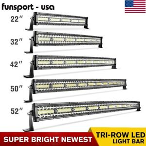 52 50 42 32 22 Inch Curved Tri Row Led Light Bar Spot Flood Driving Offroad