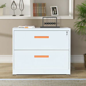 35 l Metal Lateral File Cabinet With Lock drawers Orange And White