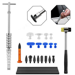 Paintless Dent Repair T bar Slide Hammer Removal Glue Puller Tap Tool Kit Aaa