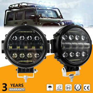 2x 7 100w Led Work Lights Bull Bar Driving Pods Round Fit Atv Truck Offroad 4wd