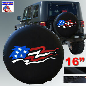16 Black Spare Wheel Tire Cover American Flag For Jeep Liberty Wrangler Size L