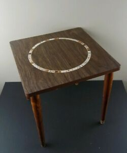 Vintage Mid Century Modern End Table Side Table Mosaic Style Top