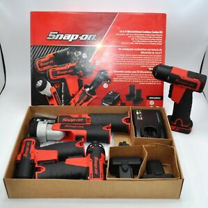 Huge Snap on Tools 14 4v Microlithium Cordless Set Impact Wrenches Ratchet more
